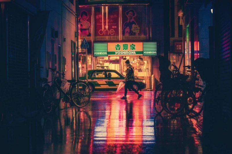 Girl walking in big city