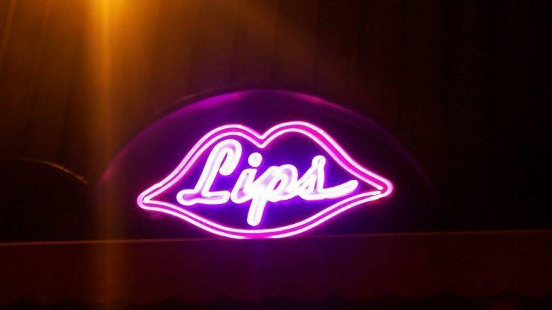 Neon Lips Bar Sign