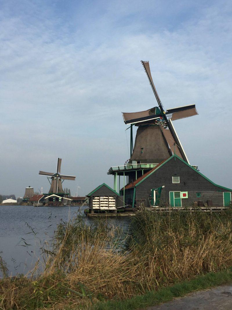 View of 2 windmills at Zaanse Schans