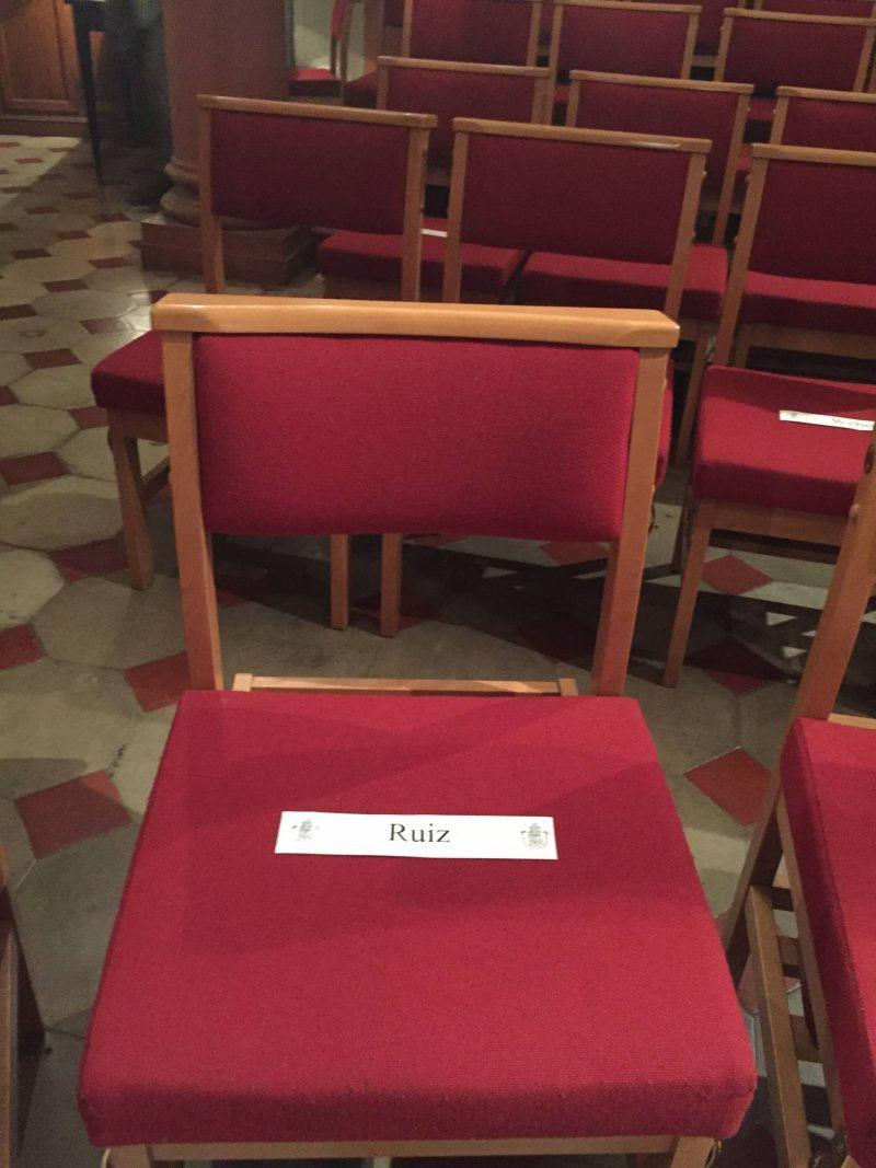 Reserved seating at St. Mark's Church