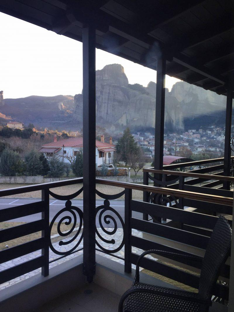 Meteora rock formations as seen from the balcony of my hotel