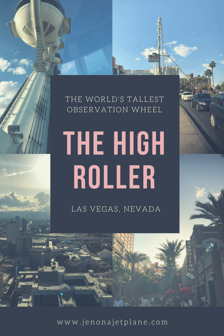 The High Roller in Las Vegas, Nevada is the largest observation wheel in the world and a can't miss attraction next time you're in Las Vegas. Click through to learn about happy hour prices and special discounts, and save to your travel board for later! #vegas #highroller #lasvegas #traveltips