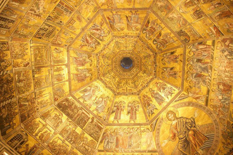 Gold Dome Ceiling Florence Baptistery Duomo