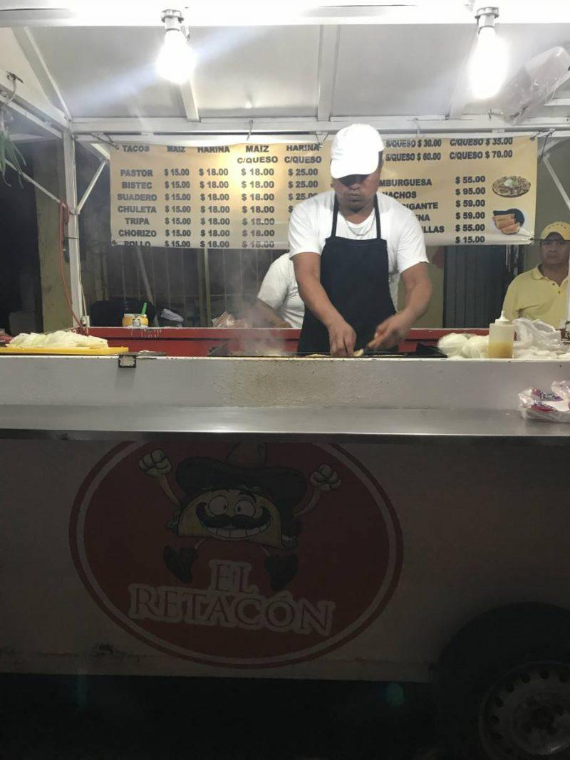 Taco truck in downtown Cancun