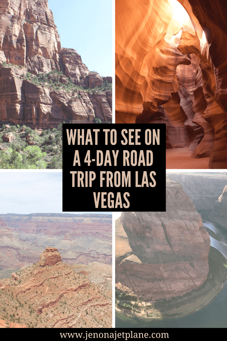 Las Vegas, Nevada is the perfect starting point for a West Coast road trip. Hit all the highlights on a 4 day drive of the surrounding area, including Zion National Park, Antelope Canyon and The Grand Canyon! There is so much natural beauty to see in the United States. Save this pin to your travel board for future reference.
