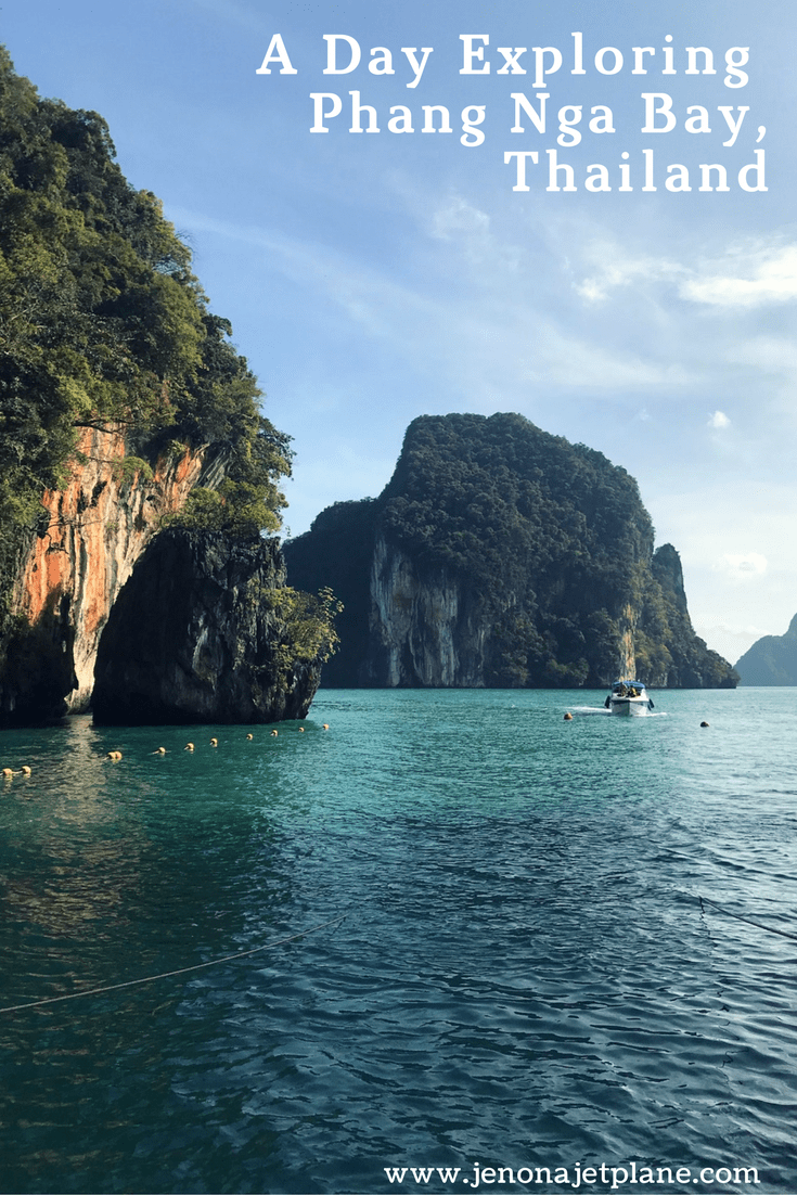 The best way to explore Phang Nga Bay is on a speedboat tour from Phuket, Thailand. This makes the perfect day trip for those looking to kayak, explore sea caves and have a little adventure. Pin to your travel board for inspiration! #thailand #phangngabay #southeastasia #asiatravel #travelthailand