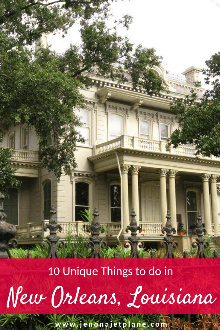 New Orleans, Louisiana has so much more to offer than just parties and Bourbon Street. Here's a list of 10 unique things to do in New Orleans, from dining with a ghost to seeing lavish homes in the Garden District. #neworleans #neworleanstravel #thingstodoneworleans #nola #neworleansvacation