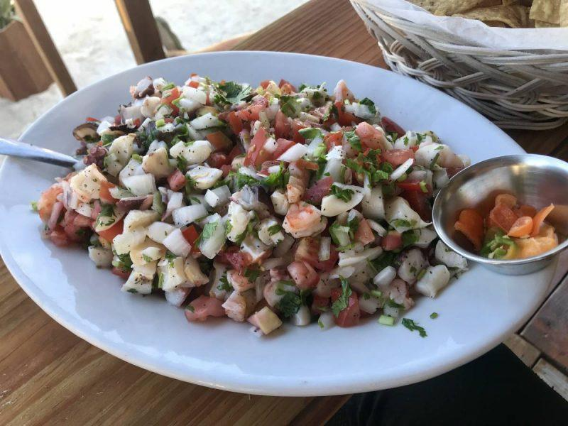 Ceviche at Sandy Toes San Pedro