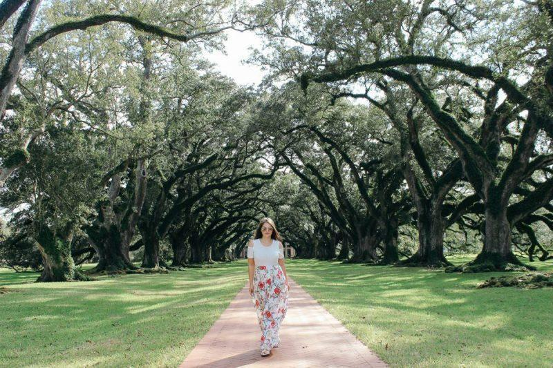 Walking down the path at Oak Alley Plantation