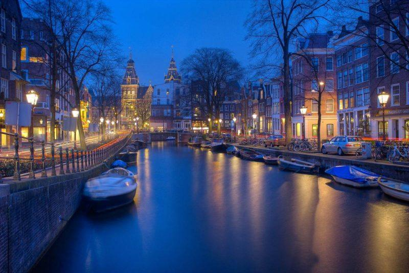 View of Amsterdam's canals at night