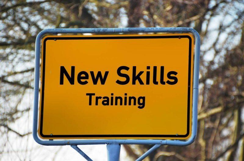 "Road sign saying ""New Skills Training"""