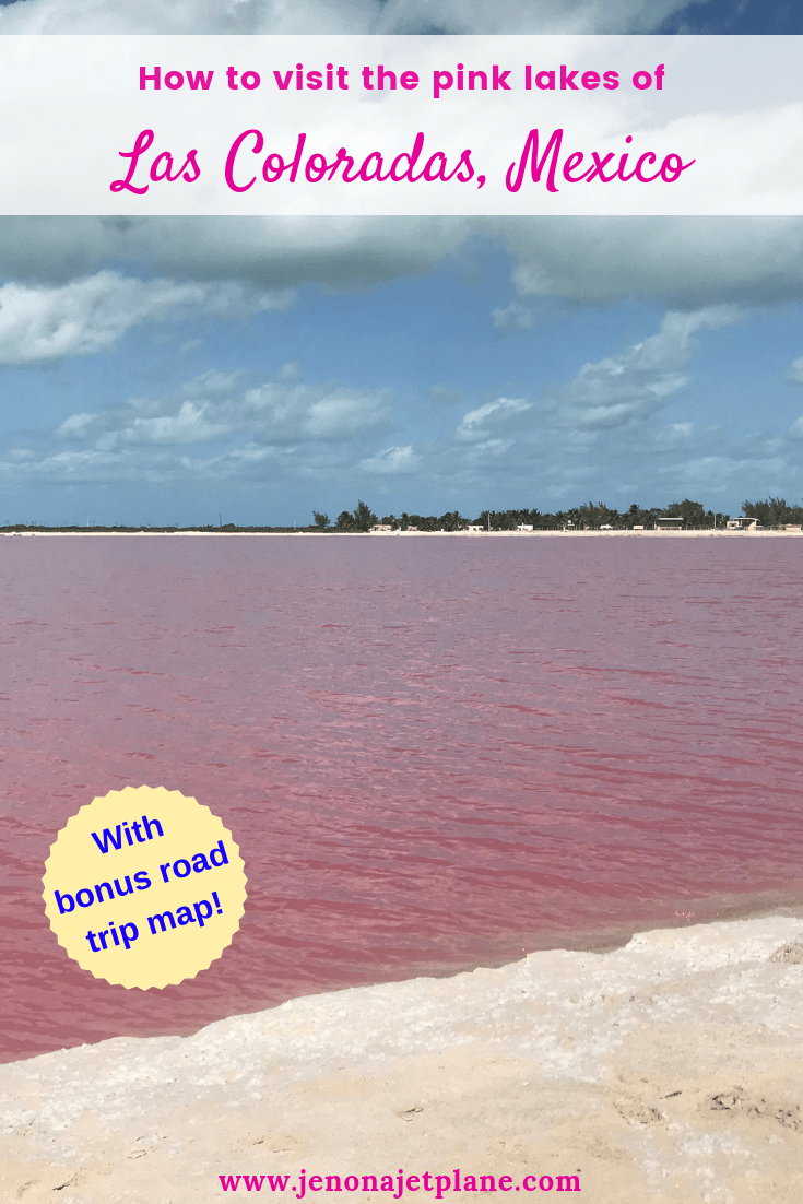 Want to visit Mexico's magical pink lakes? Las Coloradas in the Yucatan makes an easy day trip from Cancun, Tulum or Playa del Carmen and can be seen on a self-guided drive. Here's everything you need to know before you go, including updated rules and a driving map. #lascoloradas #pinklakes #mexicotravel #pinklakemexico #lascoloradasyucatan #lascoloradasmexico #bucketlistideas