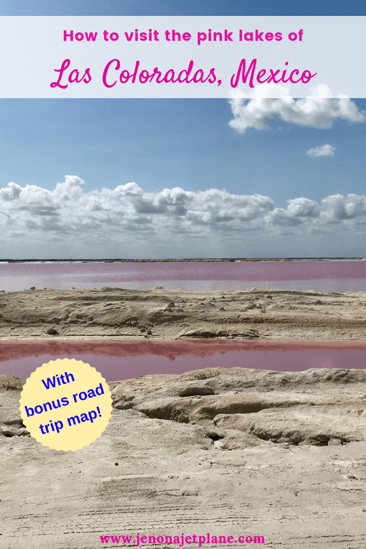 Want to visit Mexico's magical pink lakes? Las Coloradas in the Yucatan makes an easy day trip from Cancun, Tulum or Playa del Carmen and can be seen on a self-guided drive. Here's everything you need to know before you go, including updated rules and a driving map. #lascoloradas #pinklakes #mexicotravel #pinklakemexico #lascoloradasyucatan #lascoloradasmexico #bucketlistideas #mexicotrip