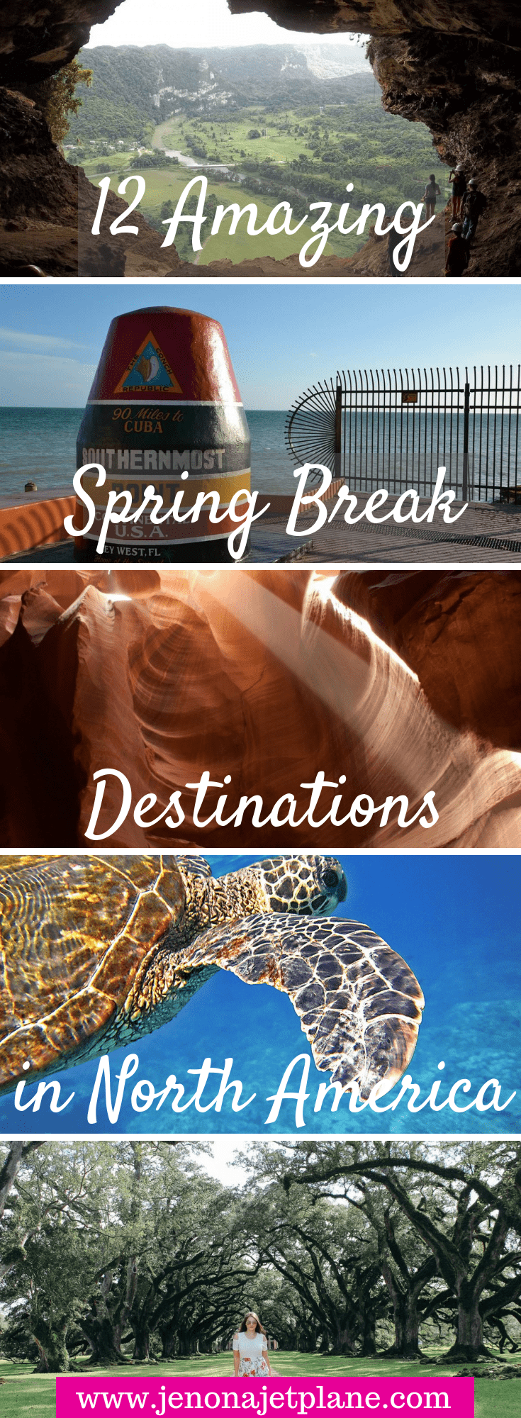 Looking for the best spring break destination in North America? From pink lakes to slot canyons, these warm and unforgettable getaways got you covered. What are you waiting for? It's time to book your next vacation. Save to your travel board for future reference. #springbreakdestinations #springbreakideas #springbreak #travelinspiration #travelunitedstates #travelamerica