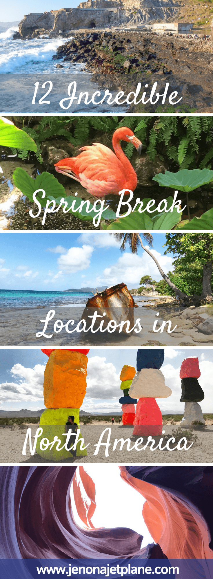 Looking for the best spring break destination in North America? From pink lakes to slot canyons, these warm and unforgettable getaways got you covered. What are you waiting for? It's time to book your next vacation. Save to your travel board for future reference. #springbreakdestinations #springbreakideas #springbreak #travelinspiration #travelunitedstates #travelamerica #springbreaktravel