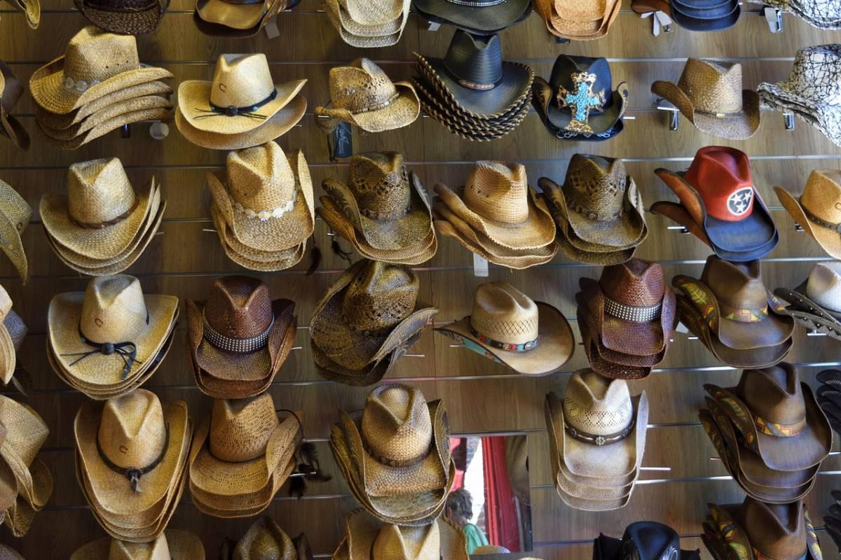 Hats on a shelf in Nashville