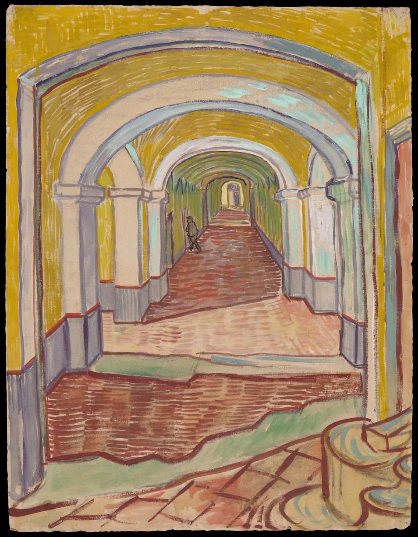Corridor drawing by Van Gogh