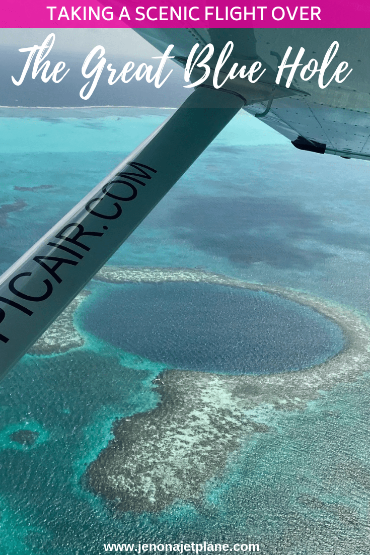 Want to take a scenic flight over The Great Blue Hole? I flew with Tropic Air Belize and it was an unforgettable experience. Here's what you need to know before you go! #sanpedrobelize #greatbluehole #blueholebelize #belizevacation #belizetravel #bucketlist