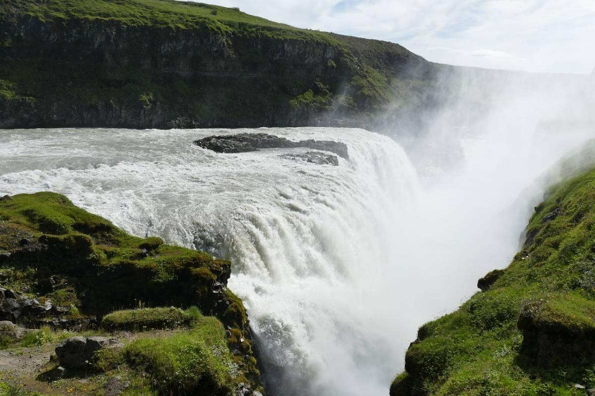 Gullfoss Waterfall during the day