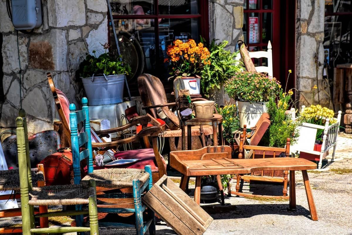 Antique shop storefront