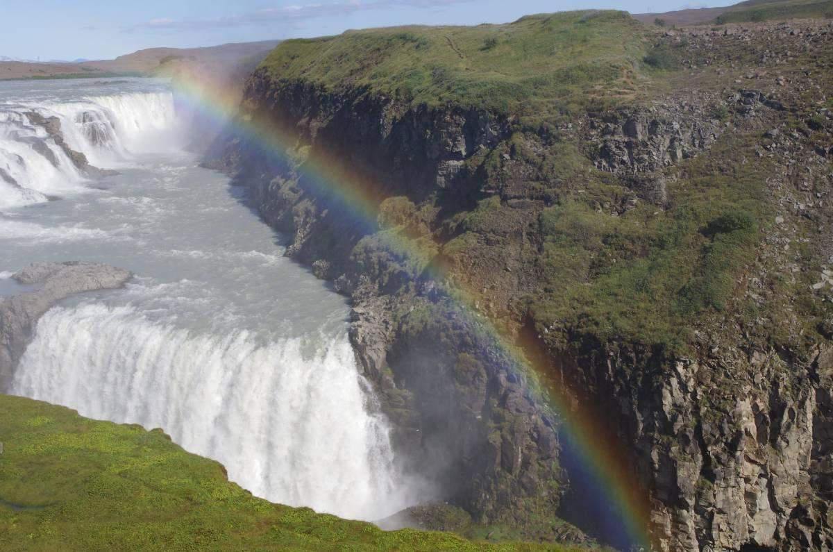 Rainbow over a waterfall in Iceland