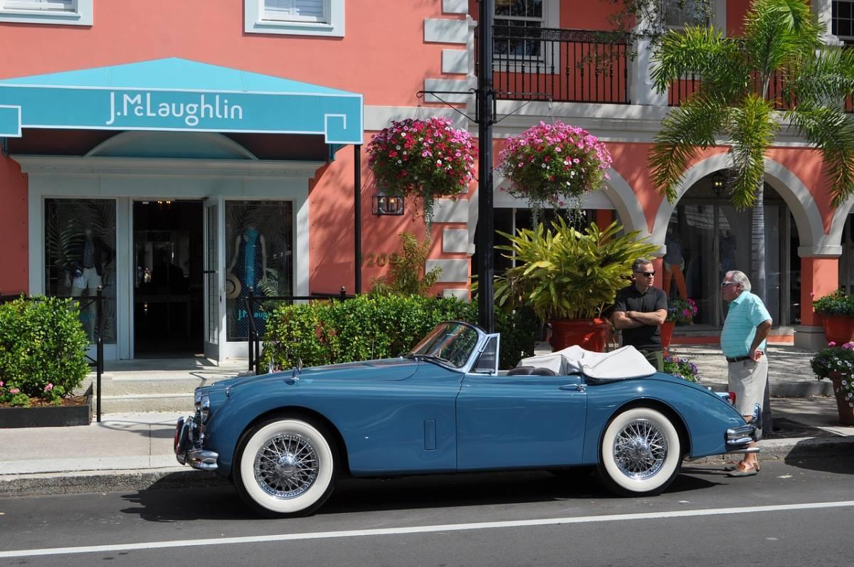 Fancy blue car in downtown area