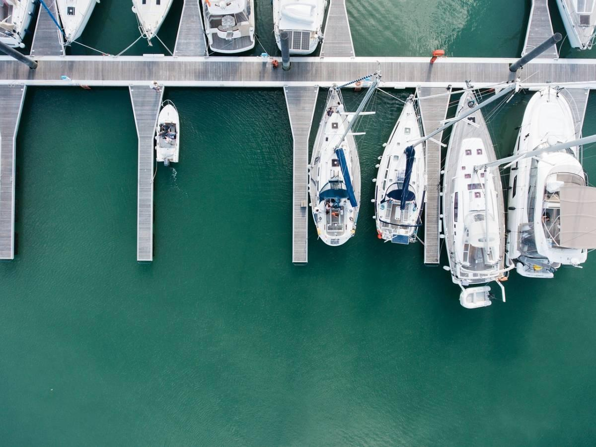 Drone shot of the marina
