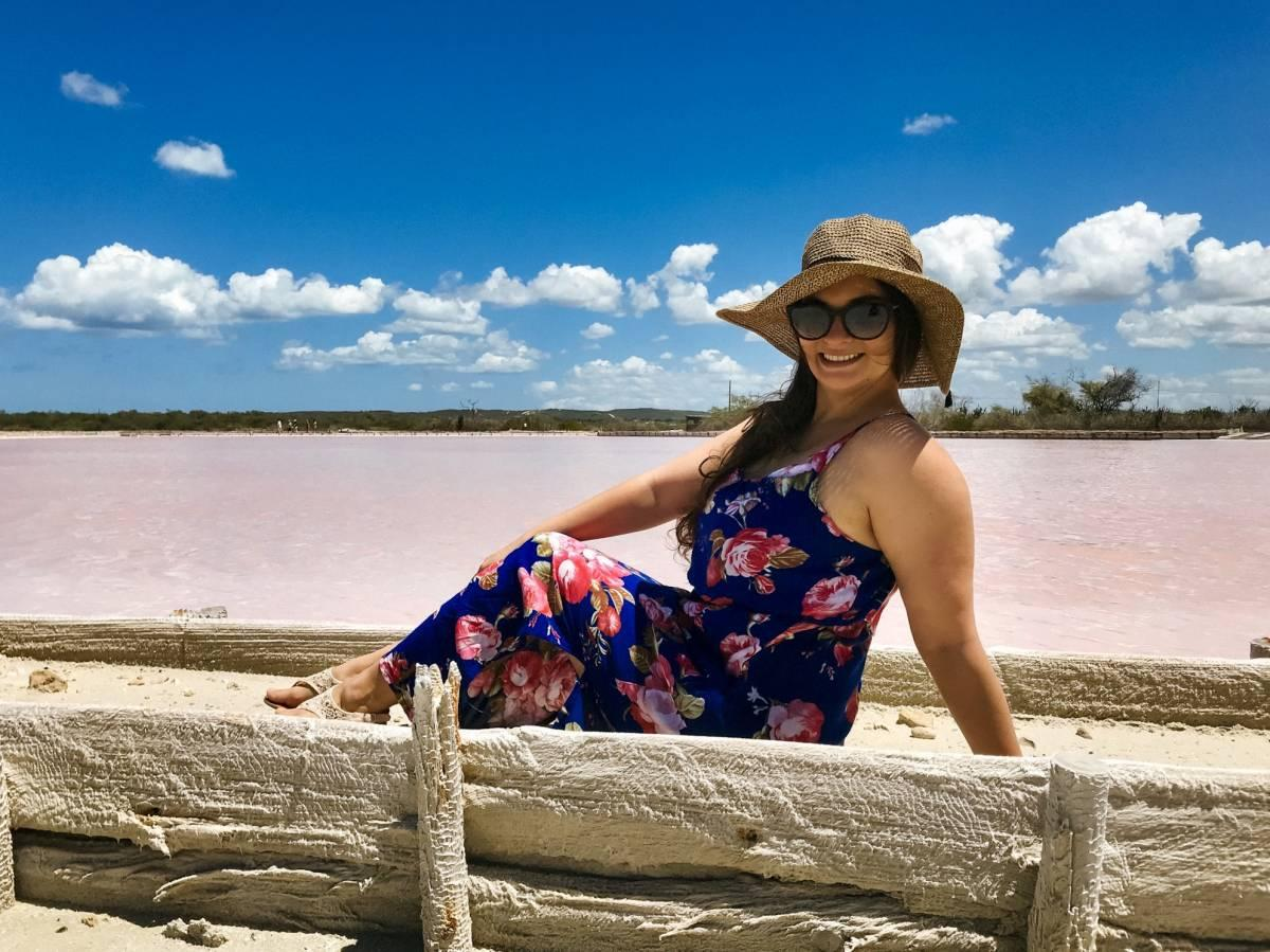 Posing by the pink lakes