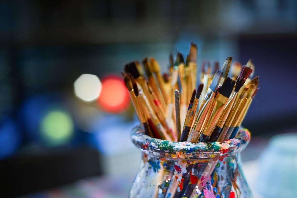 Paintbrushes at an art studio