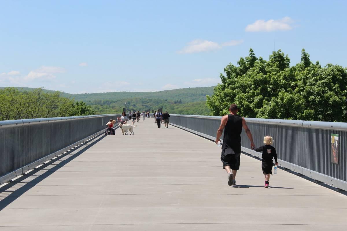 People walking on the Walkway over the Hudson