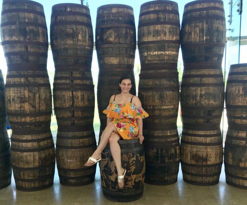 Sitting on rum barrels