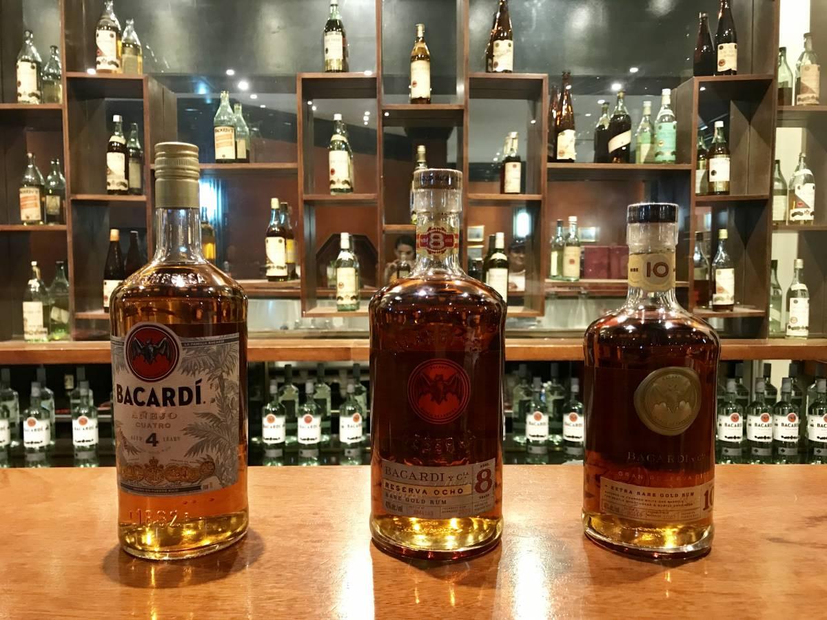 Rums lined up at the bar at Casa Bacardi