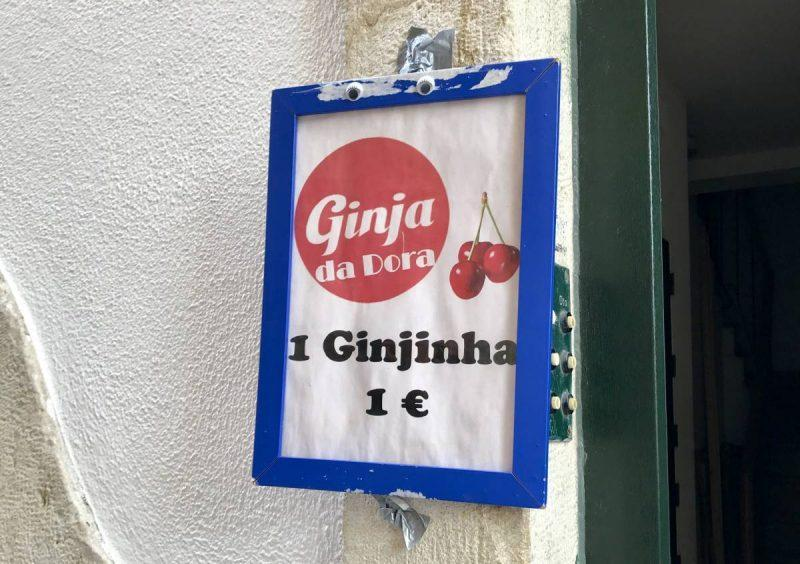 Sign for Ginja outside a Lisbon home