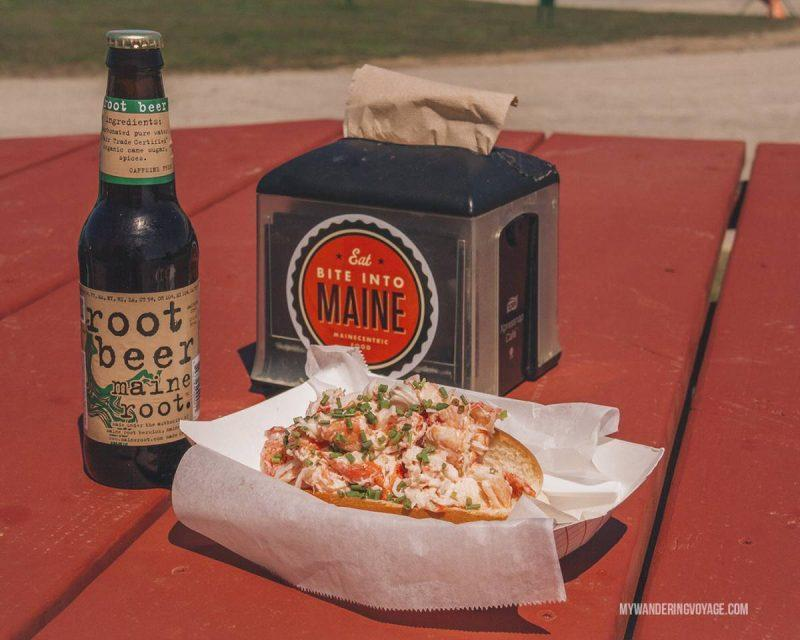 Lobster roll for lunch with beer