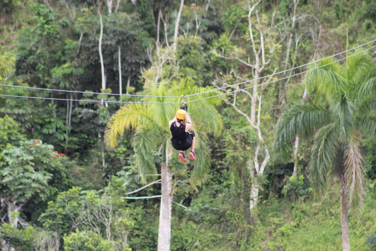 On the zipline at Toro Verde Puerto Rico