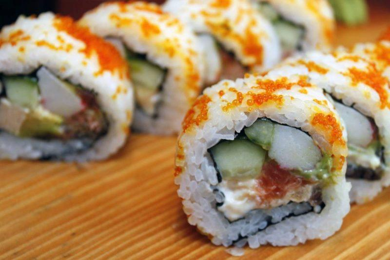 Sushi cut into pieces on a plate