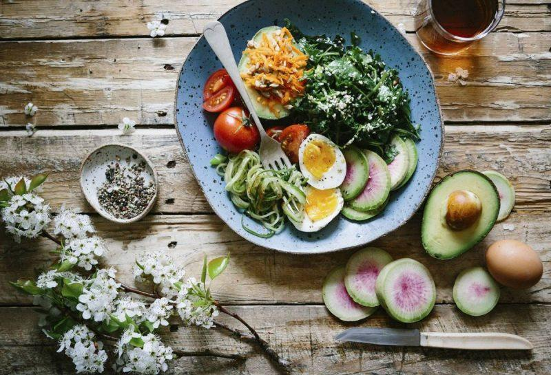 Salad on a wooden table