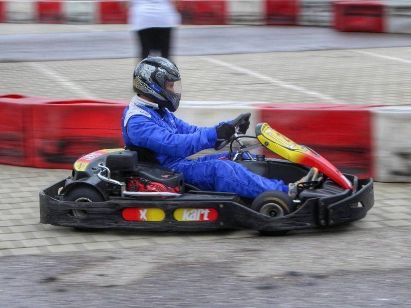 Man racing in a go-kart