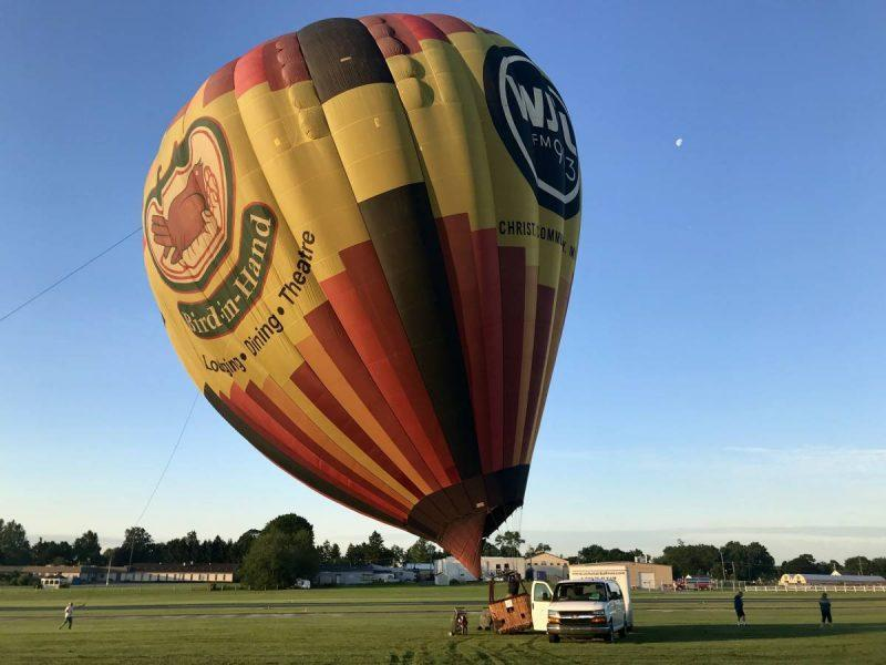Hot air balloon getting filled up