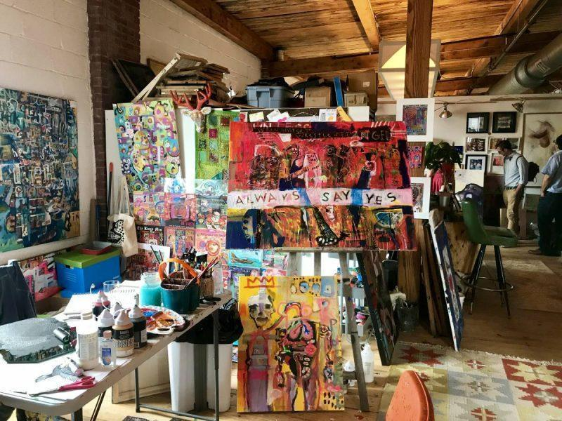 Paintings in an artist's studio