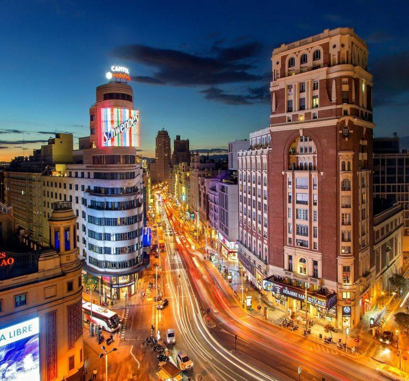 View of Gran Via from the top floor