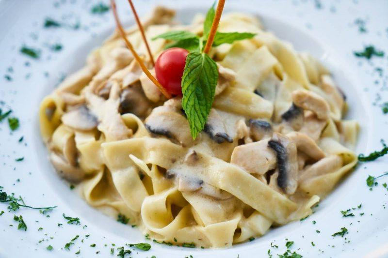 Heaping plate of pasta with mushrooms