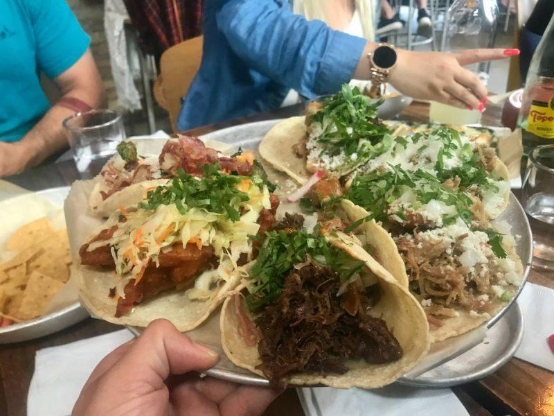 Heaping tacos on a platter