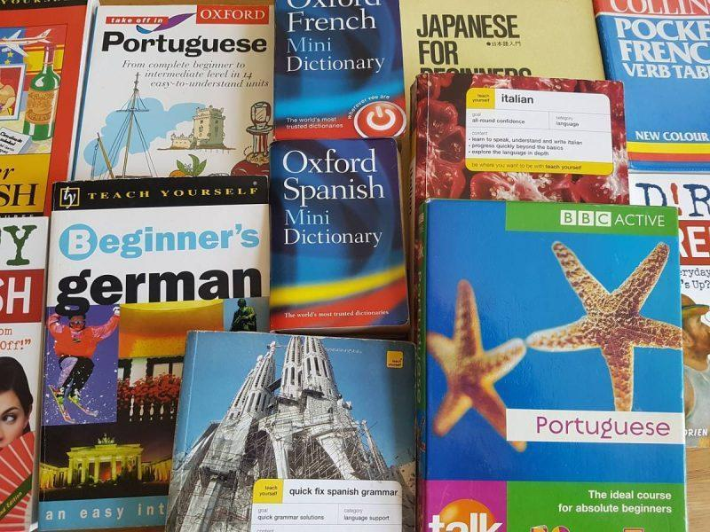 Pile of language learning books