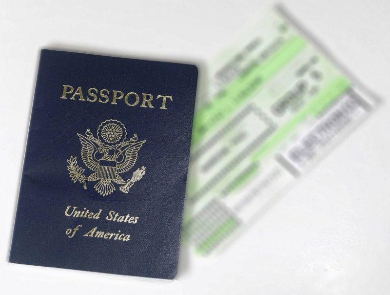 American passport and boarding pass