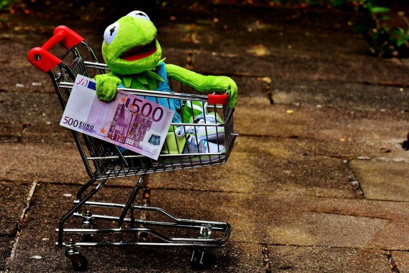 Kermit the Frog riding a shopping cart with 50 Euro in hand