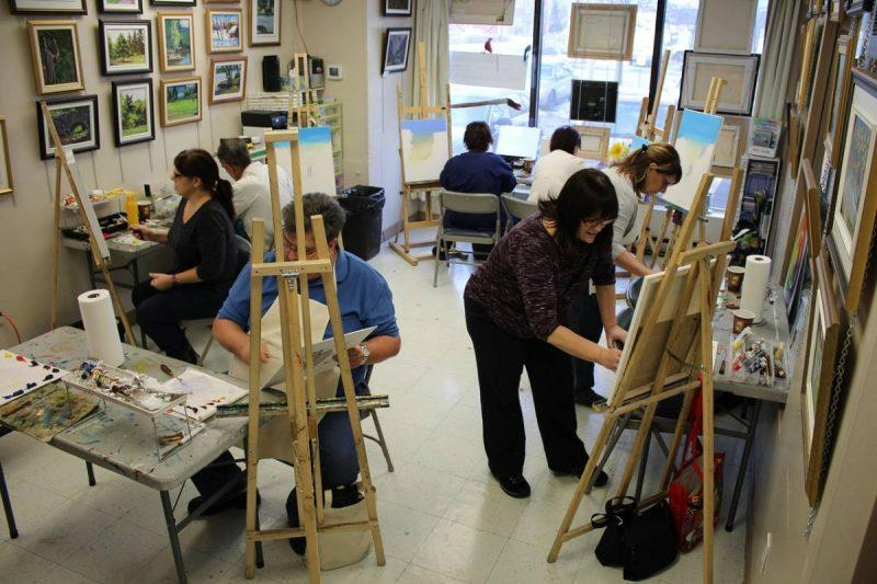 People painting in an art studio
