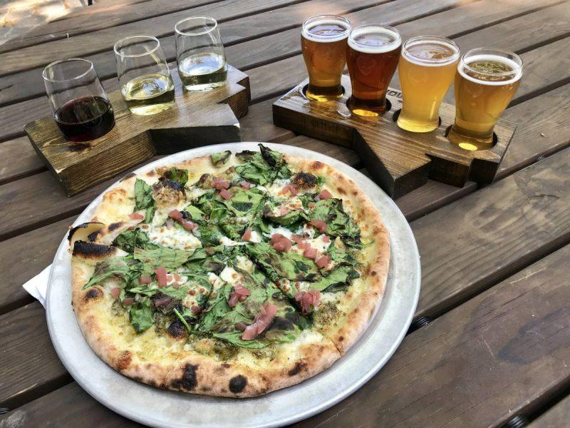 Pizza with beer and wine flights