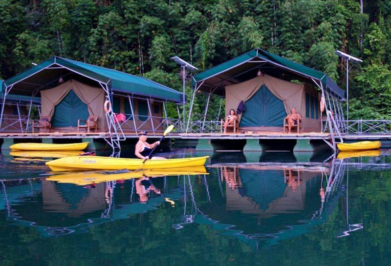 Glamping tents over the water
