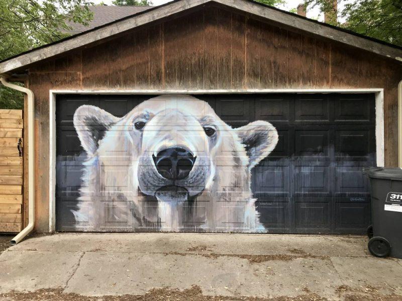 Polar bear on garage door